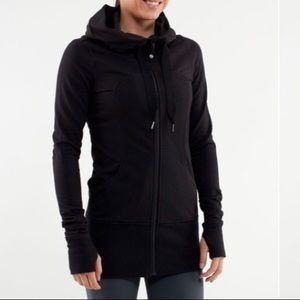 Long Hooded Jacket Hoodie Size 4 Black